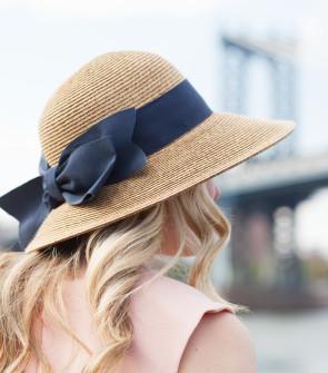 Tuckernuck Navy Blue Grosgrain Ribbon Bow Sun Straw Hat