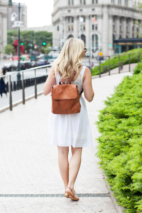 women's tan leather backpack