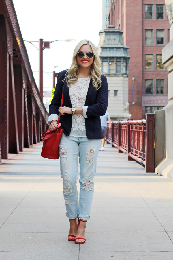 Fourth of July Outfit -- Navy Blazer, Lace Top, Boyfriend Jeans, Red Ankle Strap Heels, Red Bucket Bag --Chicago, IL