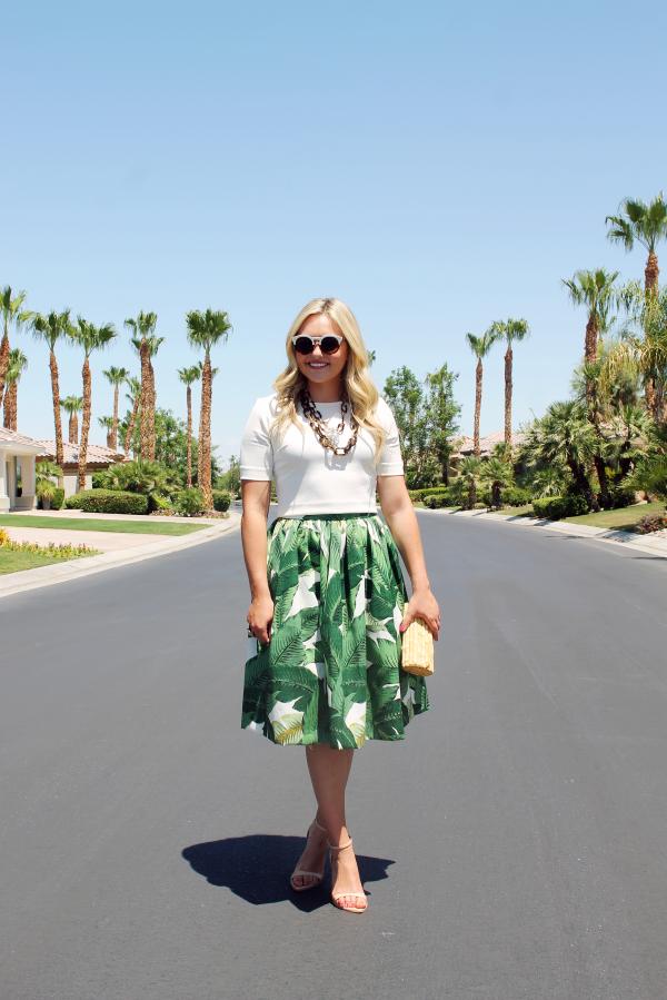 palm-leaf-skirt,-tortoise-necklace,-illesteva-tortoise-white-colorblock-sunglasses,-bamboo-clutch