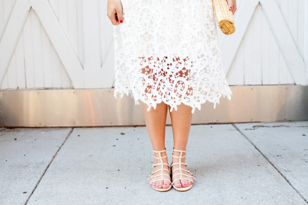 white lace skirt, vince camuto gladiator sandals