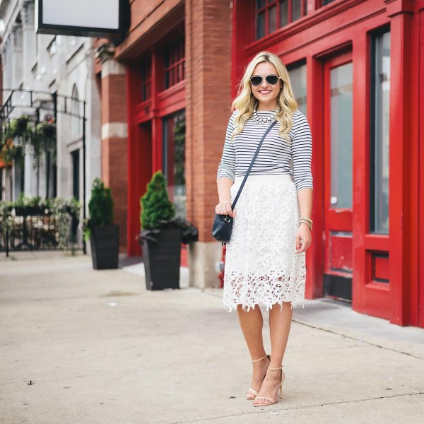 Striped Shirt  Lace Skirt on the blog today! wwwbowsandsequinscomhellip