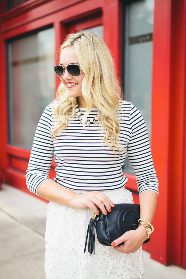 bauble bar necklace, striped shirt, lace skirt