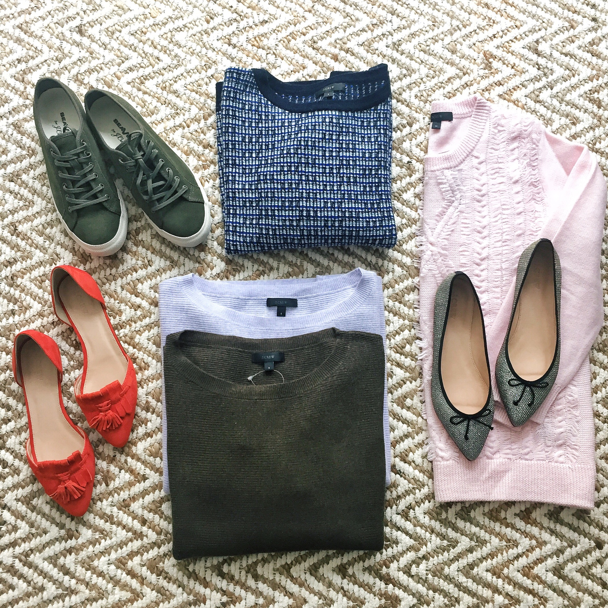 jcrew fall 2015 suede tassel loafers mermaid glitter pointed toe flats green suede sneakers textured sweaters