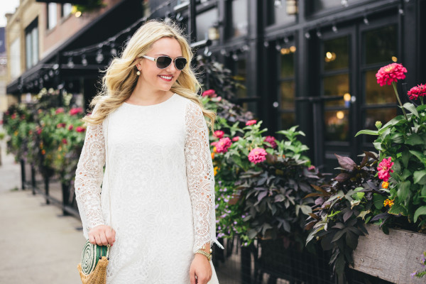 kendra scott earrings, white lace longsleeve dress