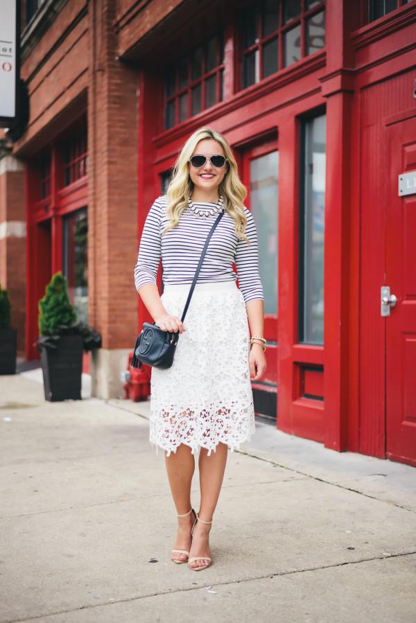 lace midi skirt, striped tee shirt