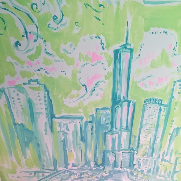 lilly pulitzer chicago skyling painting