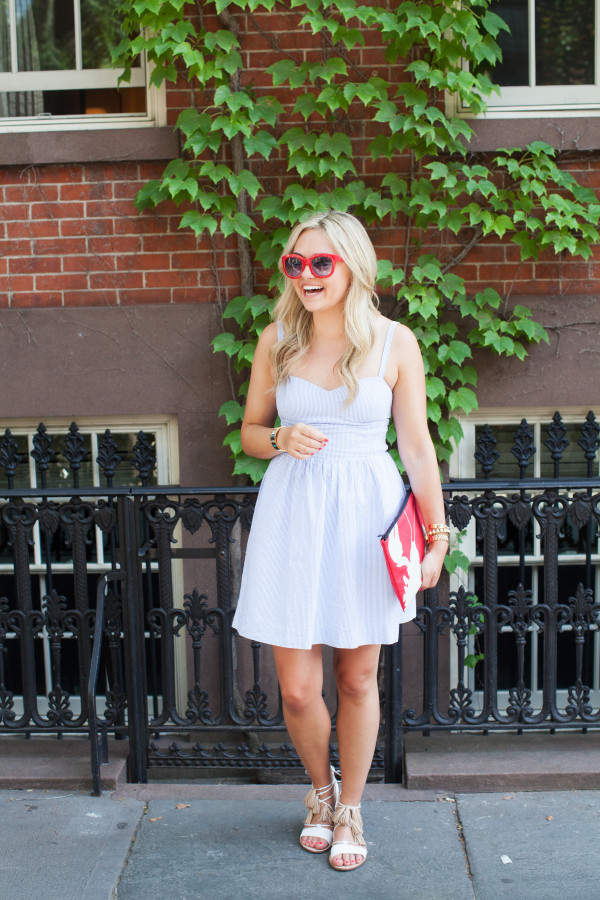 lilly pulitzer dress, tibi clutch, loeffler randall sandals