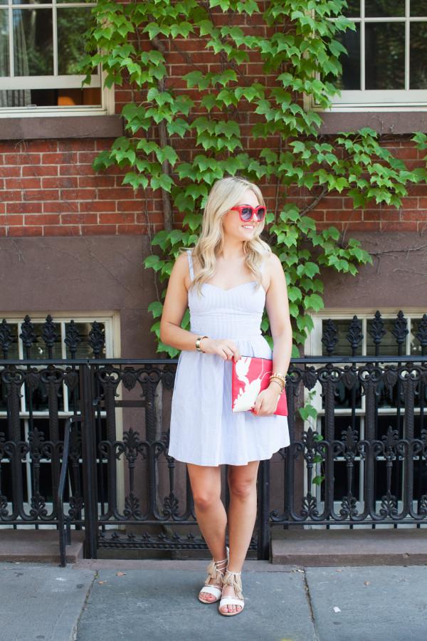 lilly pulitzer seersucker dress, red sunglasses, red tibi clutch, loeffler randall tassel sandals
