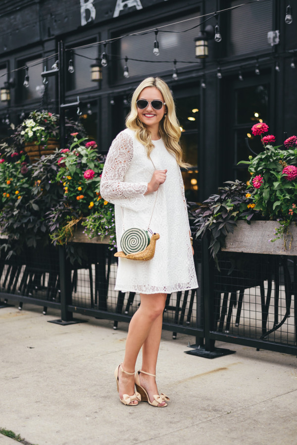 lilly white lace dress, kate spade snail bag