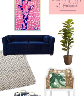preppy-palm-beach-chic-living-room-decor-navy-blue-velvet-couch