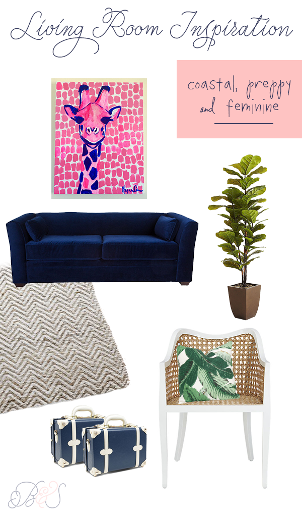 Preppy-palm-beach-chic-living-room-decor-navy-blue-velvet-couch