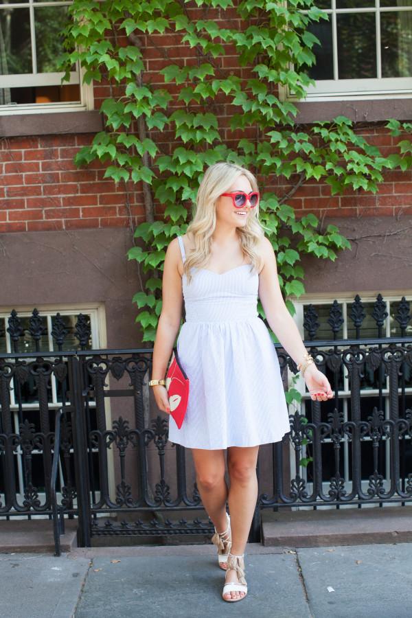 seersucker dress blue and white