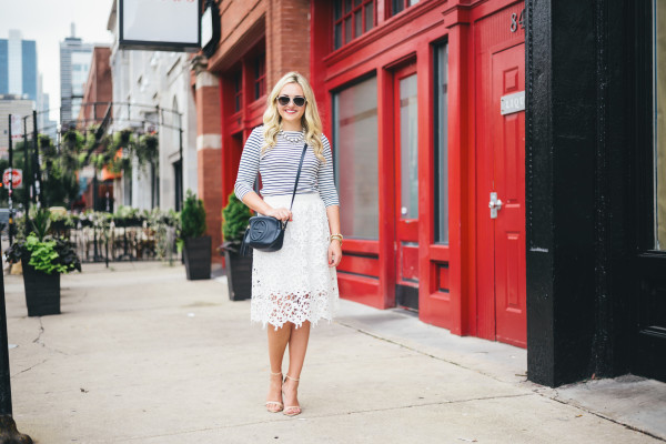 striped tee, lace skirt