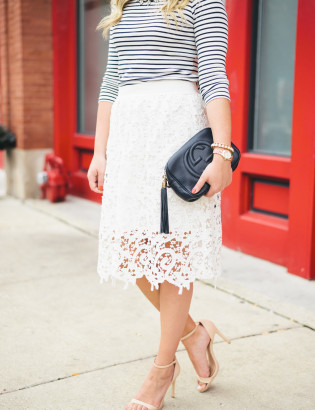 striped tee, lace skirt, gucci soho disco bag with tassel
