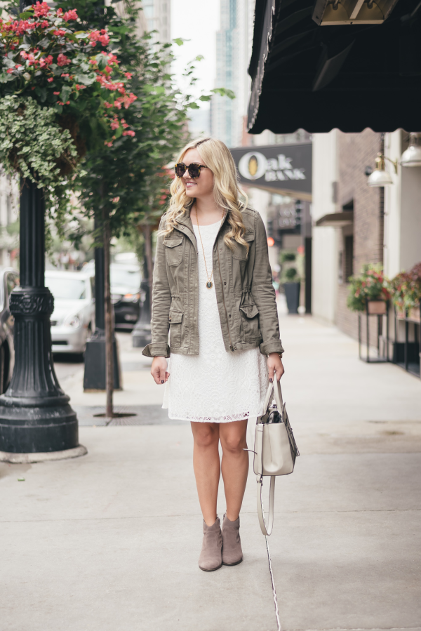 army-green-jacket,-white-lace-dress,-suede-ankle-booties