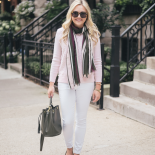 blush pink + dark green
