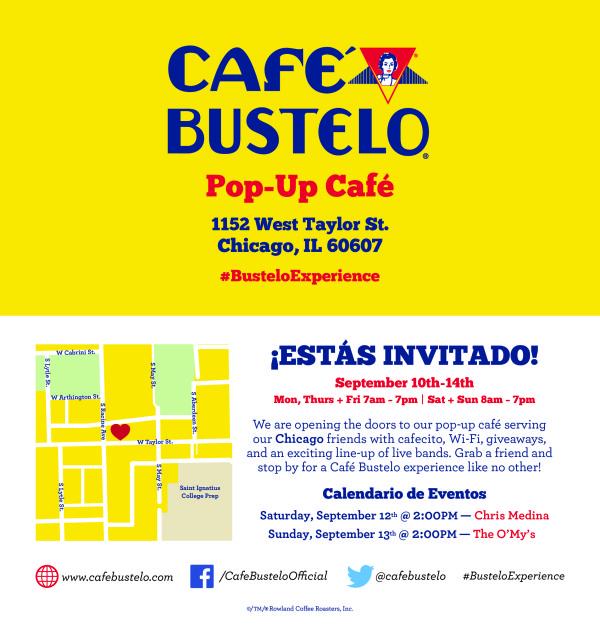 cafe bustelo chicago pop-up cafe invite