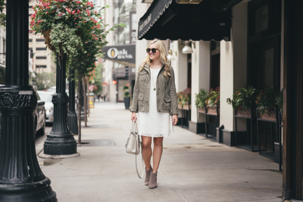 express-olive-green-military-jacket,-lilly-pulitzer-white-lace-dress,-steve-madden-suede-ankle-booties