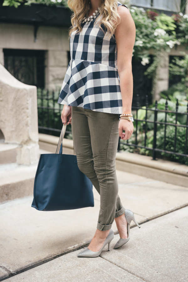 navy-gingham-peplum-top,-army-green-jeans,-grey-pointed-pumps