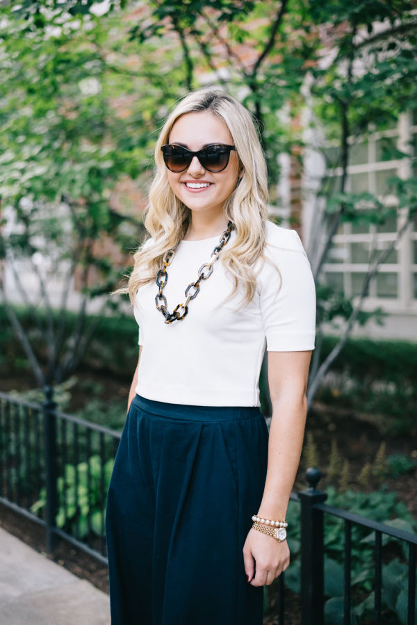 white-crop-top,-high-waisted-navy-pants,-tortoise-shell-necklace---preppy-work-appropriate-outfit
