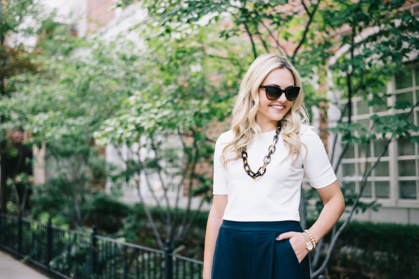 white-crop-top,-tortoise-shell-necklace,-navy-pants