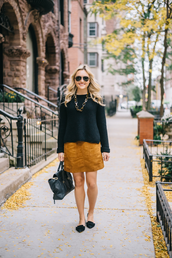black-sweater-suede-skirt-pointed-flats