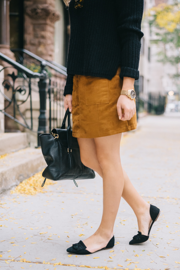 black-sweater-suede-skirt-pointed-toe-flats