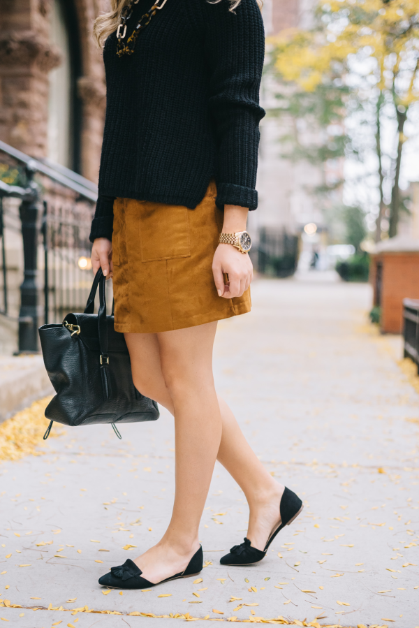black-sweater-suede-skirt-pointed-toe-tassel-flats