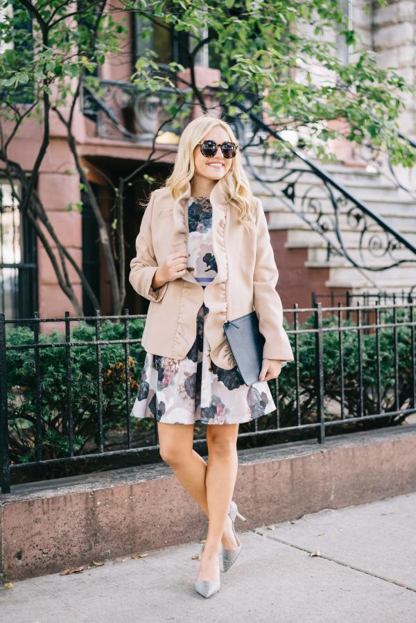 camel-ruffle-blazer-floral-dress