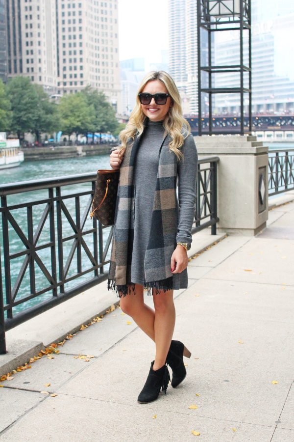 fall outfit turtleneck dress booties plaid scarf