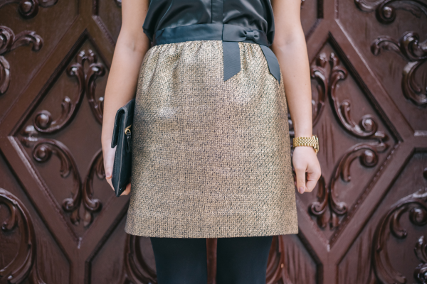 gold-tweed-skirt-with-a-black-bow-holiday