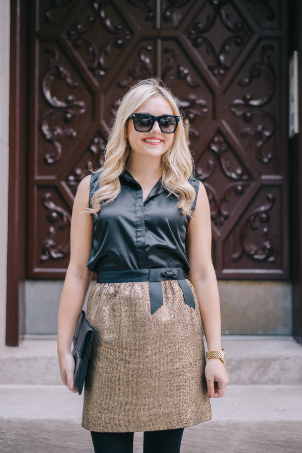 gold-tweed-skirt-with-a-bow