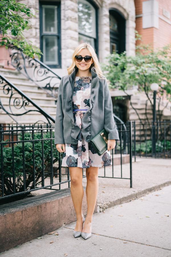gray-ruffle-blazer-fall-floral-dress