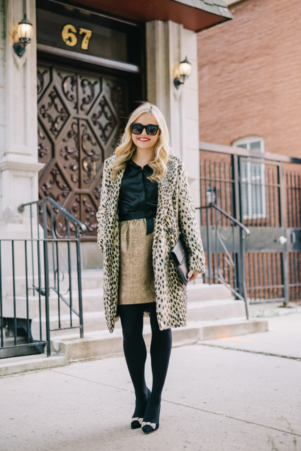 holiday-party-outfit-leopard-coat-gold-skirt
