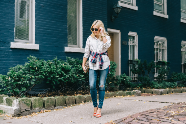 how-to-layer-two-plaid-shirts-fall-outfit