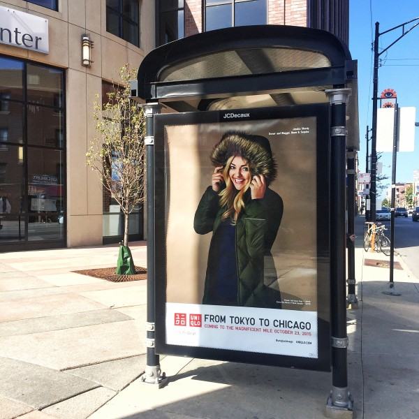 jessica sturdy uniqlo bus stop ad chicago lakeview