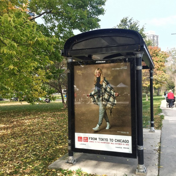 jessica sturdy uniqlo bus stop ad chicago lincoln park