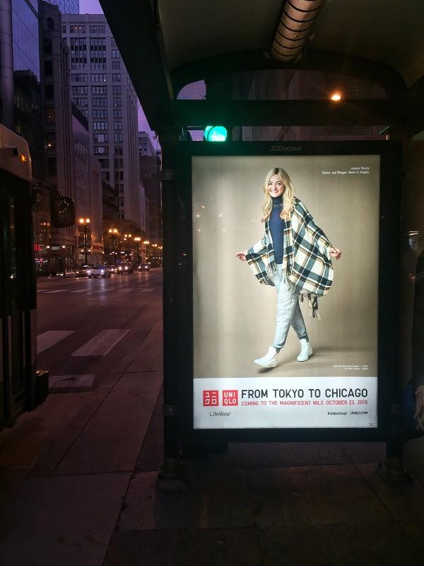 jessica sturdy uniqlo bus stop ad chicago state street