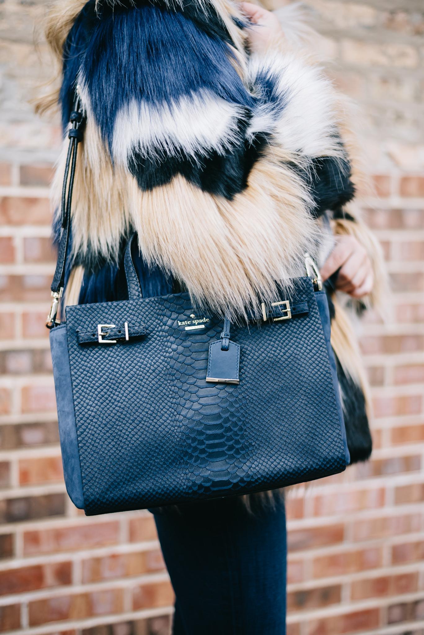 Kate Spade Navy Blue Embossed Suede Handbag