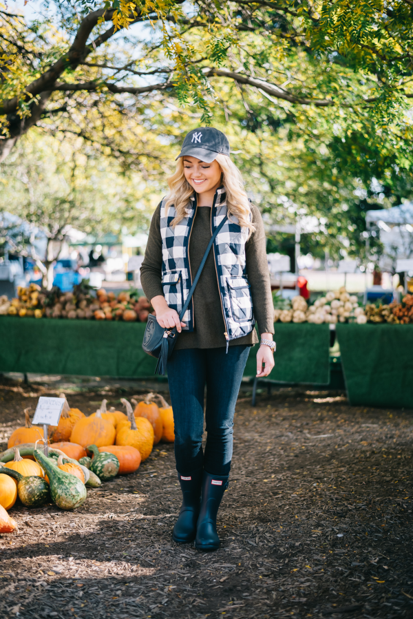 outfit-for-a-farmers-market-yankees-hat,-gingham-vest,-hunter-boots