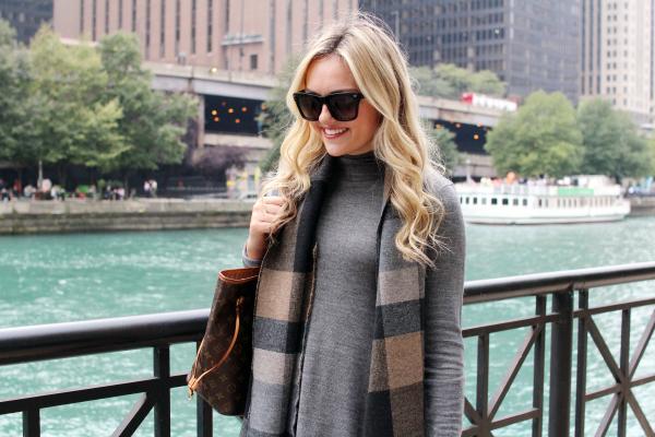 turtleneck dress pendleton plaid scarf chicago river walk