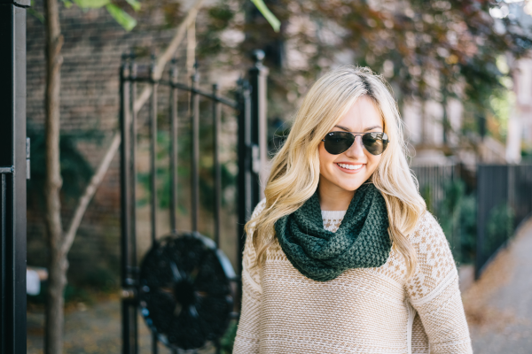 black-rayban-aviator-sunglasses,-green-knit-infinity-scarf,-fair-isle-sweater