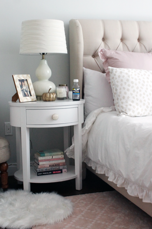 blush pink and white bedroom decor