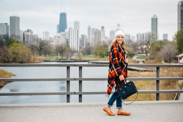 chicago bears illini orange and blue plaid poncho blanket scarf