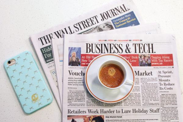 espresso and wall street journal bow phone case