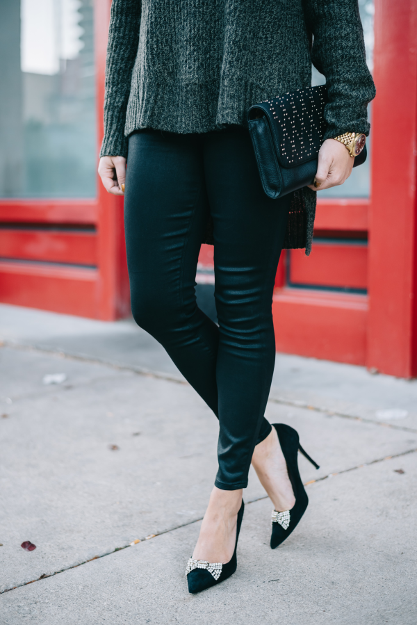 express coated leggings, kate spade bow pumps