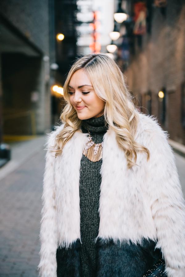 express faux fur coat colorblock