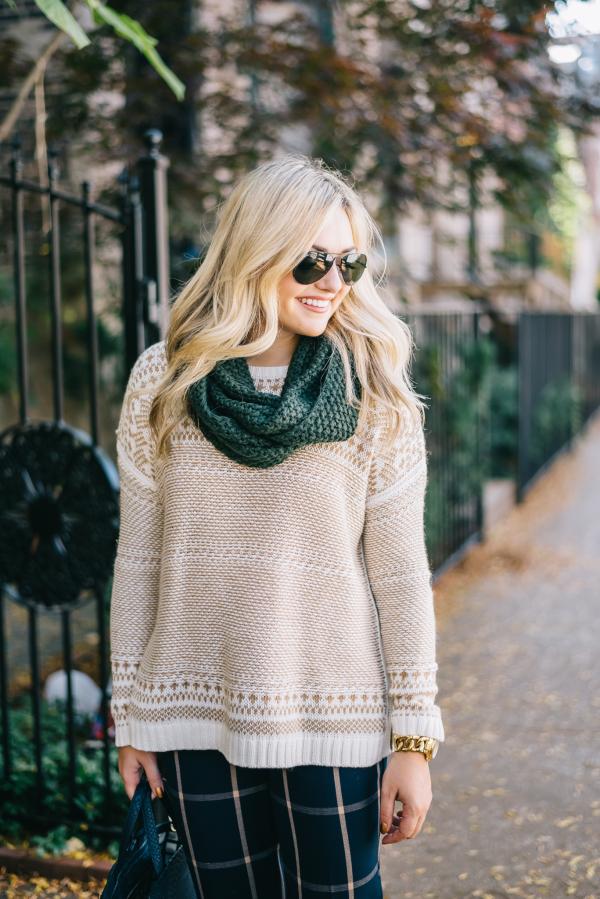fair-isle-sweater,-infinity-scarf,-printed-pants