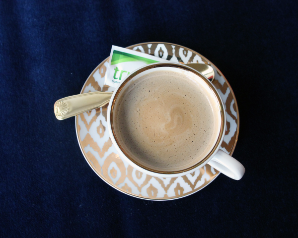 gold cappuccino cup and saucer